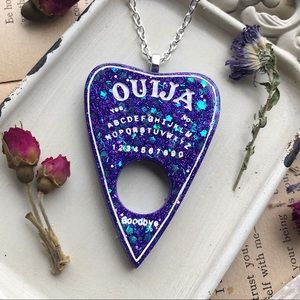 Purple glitter ouija board planchette necklace🔮